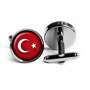 Turkey Turkish Flag Türkische Flagge der Türkei Rhodium Silber Manschettenknöpfe