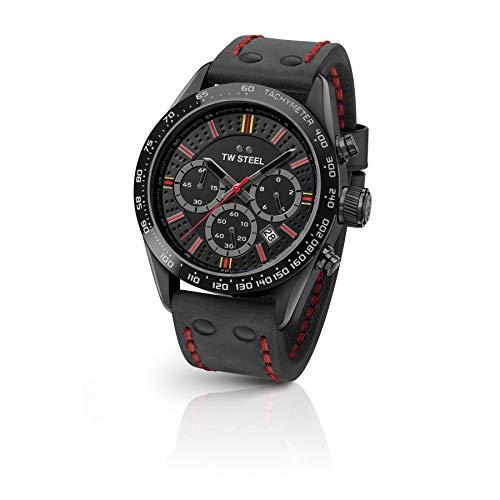 TW Steel Unisex Erwachsene Chronograph Quarz Uhr mit Leder Armband TW987