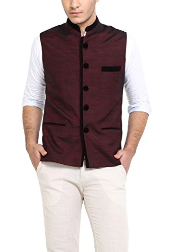 Shaftesbury London Men's Cotton Waistcoat (H1120--36, Maroon, 36)