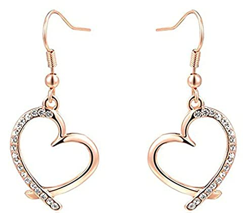 Daesar Gold Plated Earrings Women'S Drop Earrings Cz Earrings Heart-Shaped