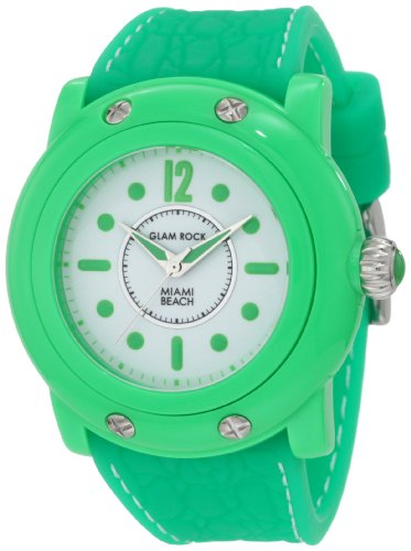 Glam Rock Women's GR25021 Miami Beach White Dial Green Silicone Watch