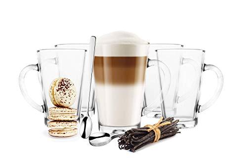6 Latte Macchiato Gläser 300ml mit Henkel und 6 Edelstahl-Löffeln (gratis)