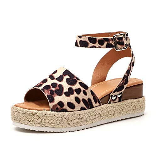 Sandalias Mujer Plataformas Verano Cuña Piel 5 CM Tacon Punta Abierta Plana Tobillo Zapato De Playa Moda Fiesta Leopardo 42