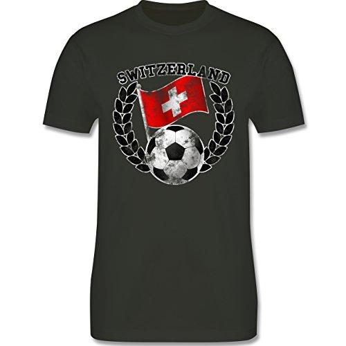 EM 2016 - Frankreich - Switzerland Flagge & Fußball Vintage - Herren Premium T-Shirt Army Grün