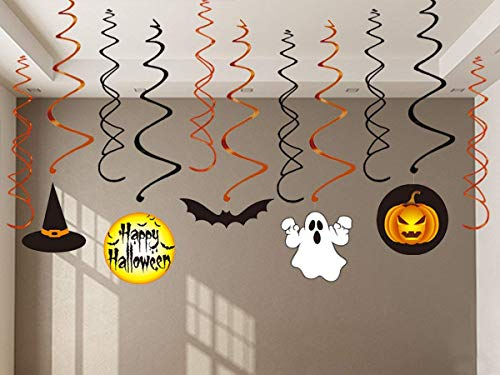 VSTON Halloween Dekoration zum Aufhängen, Wirbel, Party-Set mit Kürbis-Geist, Happy Halloween Swirls 30 Packungen - 5