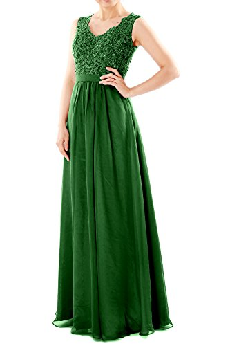 MACloth Women V Neck Lace Chiffon Long Prom Dresses Formal Party Evening Gown (EU48, Dark Green)