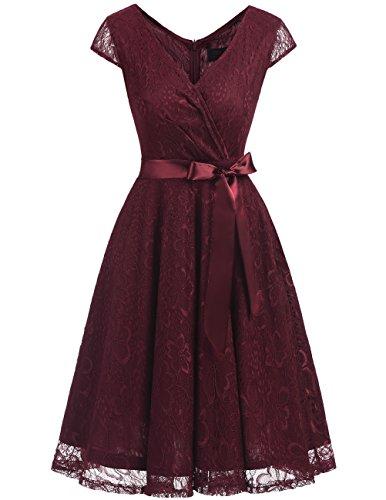 Dresstells Damen Spitzenkleid V-Ausschnitt kurz Brautjungfern Cocktailkleid Abendkleider Burgundy 3XL