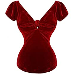 Hell Bunny Azúcar Negro Terciopelo Rojo Navidad Rockabilly Pin-Up 1950s Retro Top - Rojo, 16 X-Long