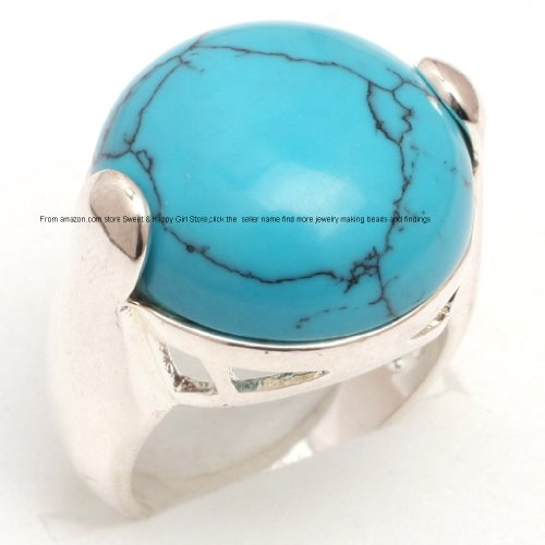 Image of Sweet & Happy Girl'S Stor 20mm Round Dyed Blue Turquoise Beads Tibetan Silver Base Ring Send By Random US#6-#9 Women