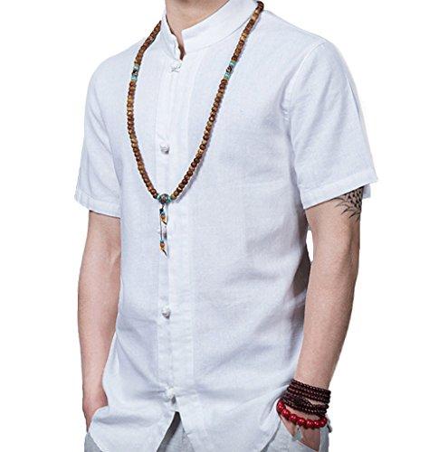 WSLCN Herren Leinen Kurzarm Hemd Freizeithemd Einfarbig Grandad-Kragen Weiß