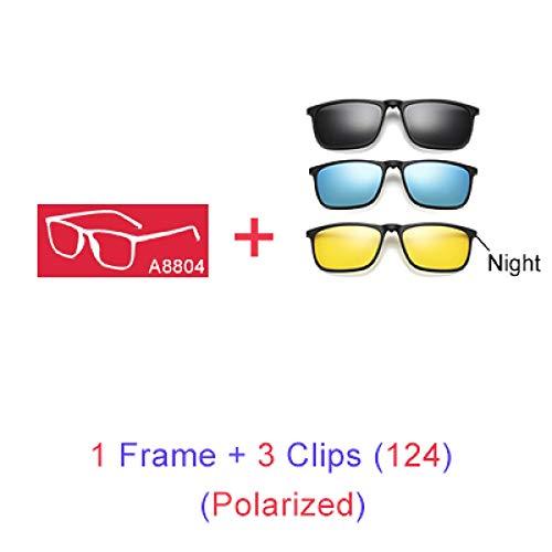Yangjing-hl Magnetische Sonnenbrille Männer 5 In 1 Polarisierte Clip Auf Sonnenbrille Frauen Platz Sunglases Ultraleichte Nachtsichtbrille A8804