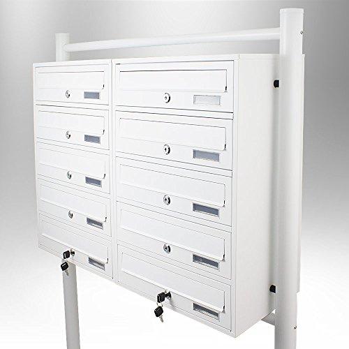 BITUXX® Stand-Briefkastenanlage Postkasten Letterbox Mailbox Doppelt mit 10 Fächer Weiß