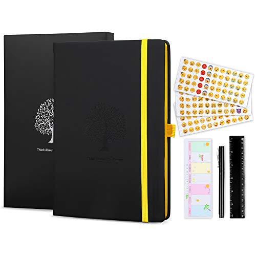 Bullet Journal, MOMKEY Notizbuch Dotted, Hardcover Premium Dickes Papier 125G/m², A5 Tagebuch 200 Seiten mit 4 Perforierte Ausreißseiten, Bonus Geschenke und 1 Prämie Stift, Schwarze Box