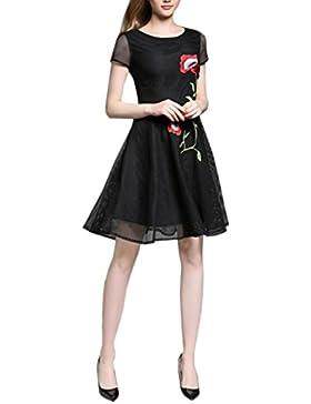 HJMTRY Sra. Mangas cortas hueco bordado era fino delgado vestido de una línea , black , s