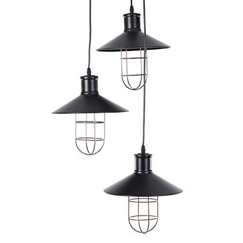 Suspension Design Delights LOFT | métal, 3 abat-jours, noir | lampe industrielle