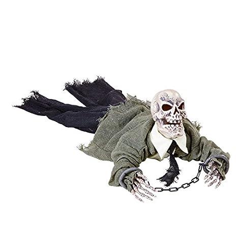 Gruselige Skelett Halloween Deko Animierte Zombie Leiche mit Licht und Sound Grim Reaper Partydeko Dekofigur Sensenmann Halloween Deko Ideen Monster Halloweendeko