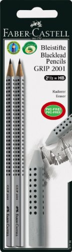 Faber-Castell 187198 - 2 Bleistifte GRIP 2001, Härtegrad: HB,  inklusive 1 GRIP Radierer, silber