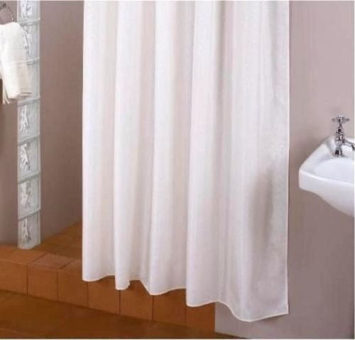 KS Handel 24 Textil Duschvorhang Weiß inkl. Ringe Überlänge / 180 x 215 cm