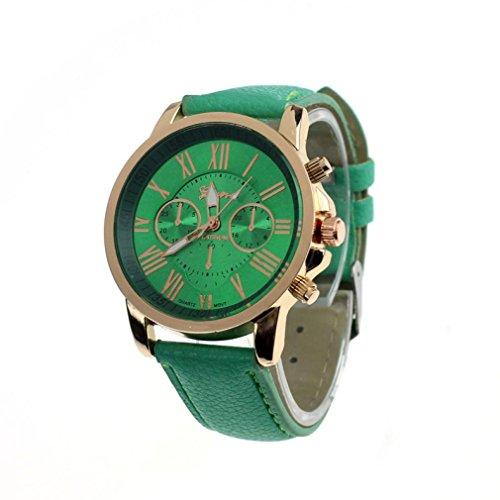 Neue Mode Analoge Quarz Armbanduhr Damen, DoraMe Frauen Kunstleder Römischen Ziffern Uhr Klassische Luxus Uhren (Minzgrün)