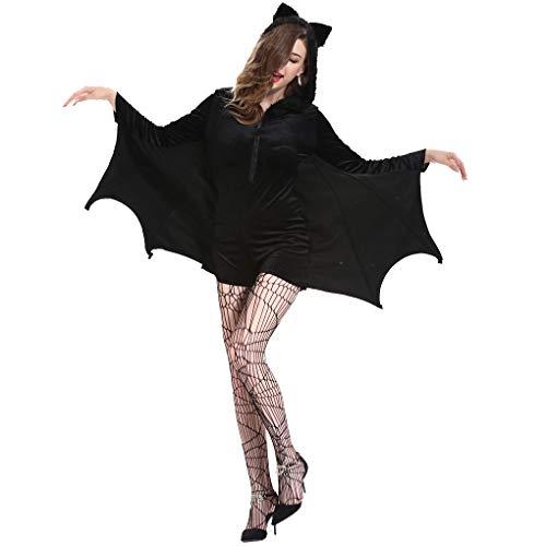 Cdrox Erwachsener Frauen Halloween-Schläger-Kostüm-Schläger mit Kapuze Bodysuit Cosplay Flügel Body