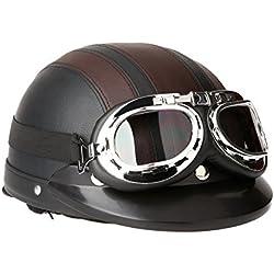 SODIAL(R)Casco de cuero de la motocicleta la motocicleta abierto la media cara con gafas viseras proteccion UV retra estilo 54-60cm-Marron y negro