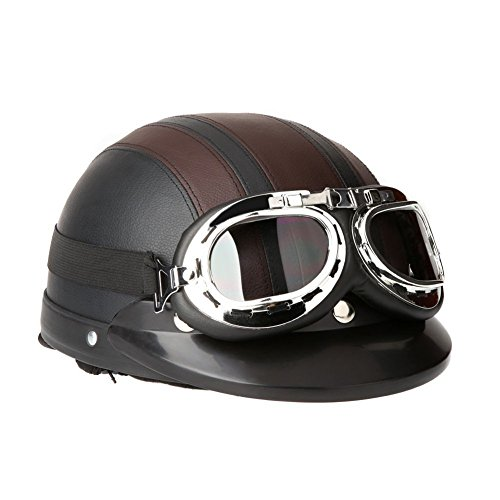 SODIAL(R) Motorrad Roller Open Face halbes Leder-Helm mit Visier UVschutzbrille Retro Vintage Style 54-60cm Braun