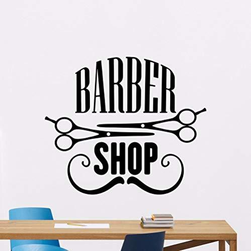 Barber Shop Wandtattoo Vinyl Wandkunst Aufkleber Barber Shop Wanddekoration Vinyl Abnehmbare Friseursalon Wandkunst Wandbild -54x63cm