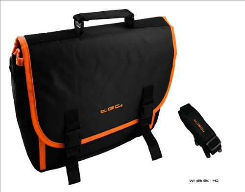 New Schwarz & Hot Orange Trim Messenger Style Tragetasche für Das HP Slate 7Tablet & Cover