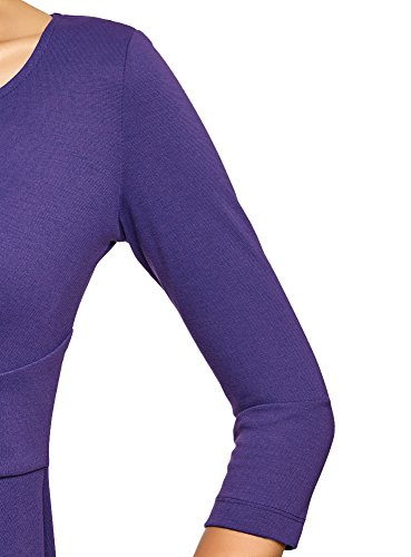 oodji Collection Damen Jerseykleid mit 3/4 Arm Violett (7500N)