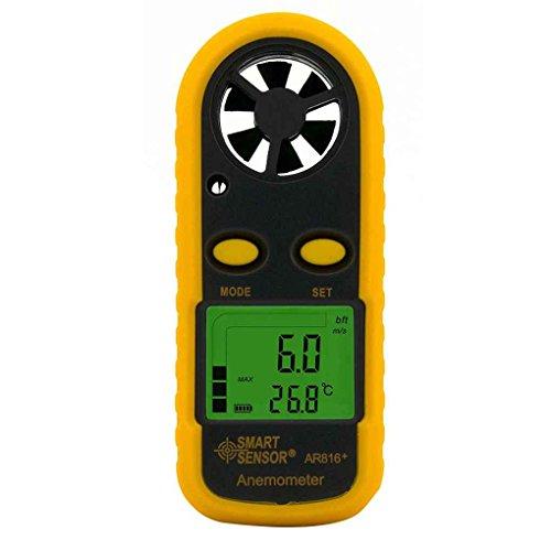 mailfoulen Smart Sensor AR816 + électronique Anémomètre Thermomètre numérique de Poche Vitesse du Vent Jauge Compteur de débit d'air Anémomètre Pas Cher Beau