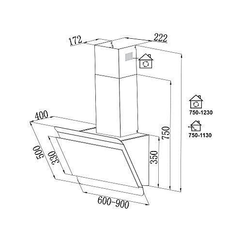 KKT KOLBE BICOLORE60RGB Dunstabzugshaube / 60 cm kopffrei / Schwarz-Edelstahl / Nachlauf / 4 Stufen / Alu-Metallfettfilter / leichte Montage