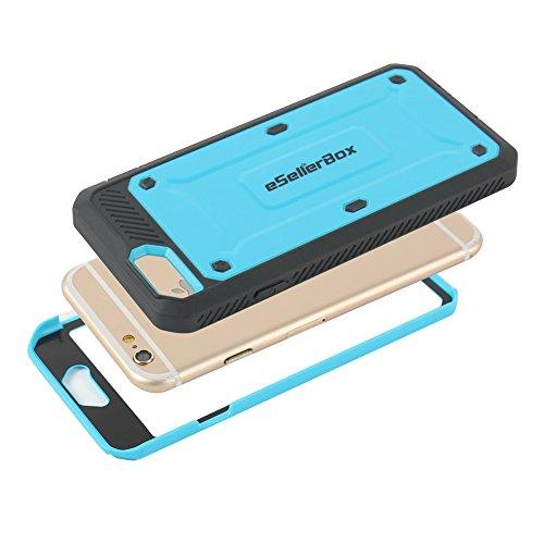 eSellerBox Coque de protection arrière et avant robuste et rigide pour iPhone 6/6s Antichoc/anti-rayures, plastique, noir, iPhone 6/6S bleu ciel