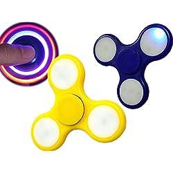 –Juego de 6–Peonzas infinity Twister LED 'Fidget Spinner' 7,5cm colores surtidos–Calidad coolminiprix®