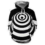Xmiral Hoodies Herren Sweatshirt 3D Digital Vortex Printed Langarm mit Kapuze Oberseiten-Bluse (M,H)