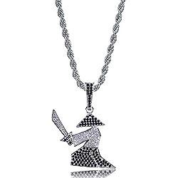 JOERTER Personalizada Espada del Samurai En Forma De Collar con Hip-Hop Collar Negro Y Negro Circón, Adecuado para Cualquier Tipo De Dama O Masculino,Plata