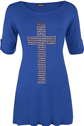 WearAll - Tunique évasée à manches courtes avec un croix clouté - Hauts - Femmes - Grandes tailles 42 à 56 Bleu Royal