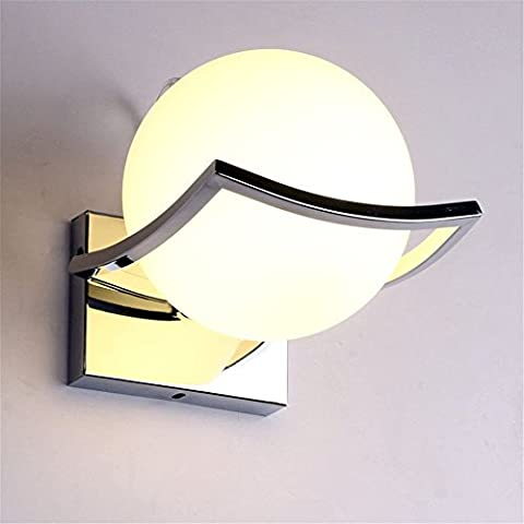 Ball Modern Wall Light Indoor Wall Lamp Night Light with Chrome-Plated Stainless Steel Holder for Bedroom, Corridor, Aisle