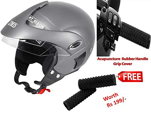 JMD HELMETS Wonder with Peak Open Face Helmet (Matte Silver, Large)