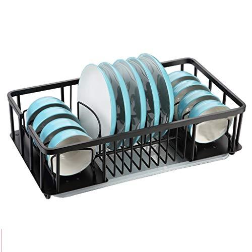 GY Geschirrkorb, Edelstahl Abtropffläche Einzelne Schicht Küche Arbeitsplatte Lager Korb Schüssel Mit Tropfschale Essstäbchen Tube 2 Farben, 50,5 * 28 * 14,6 cm (Farbe : Silver+Chopsticks cage) -