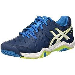 Asics GEL-Challanger10, Zapatillas de Tenis para Hombre, (Poseidon/White/Safety Yellow), 40.5 EU