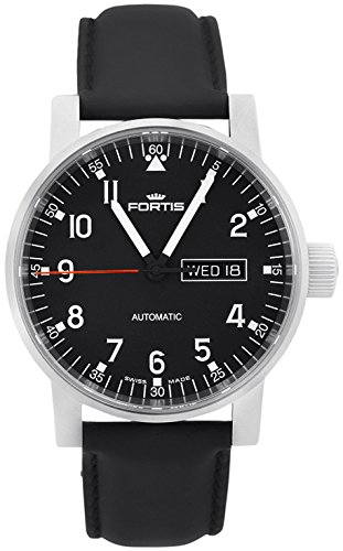 Fortis Spacematic Pilot Professional Steel Mens Strap Watch Day Date 623.10.71.L.10