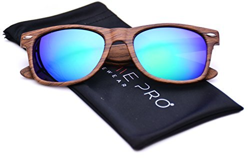 Holz-Look Imitation Bunte Gläser Hornbrille Reflektierende Revo-Sonnenbrille