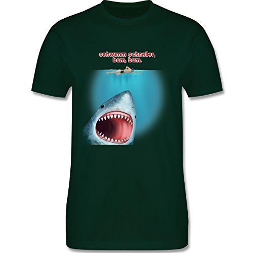 Wassersport - Schwimm schneller, bam, bam. - Herren Premium T-Shirt Dunkelgrün