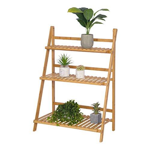 12f56a1106ef Woltu Escalera para Plantas de Bambú Estantería para Flores con 3 Niveles  Naturaleza RG9348br