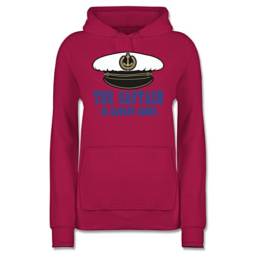 statement-shirts-the-captain-is-always-right-m-fuchsia-jh001f-damen-premium-kapuzenpullover-hoodie