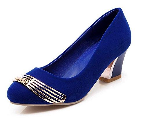 AllhqFashion Femme à Talon Haut Couleur Unie Tire Dépolissement Rond Chaussures Légeres Bleu