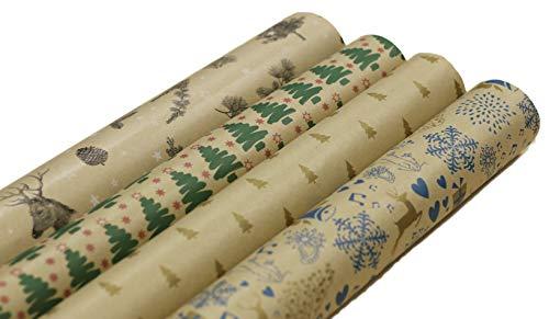 Premium Geschenkpapier Retro Ökologisches Recycling Papier 4 Rollen a`2m x 70cm Natur Geschenkverpackung für Weihnachten Kraftpapier