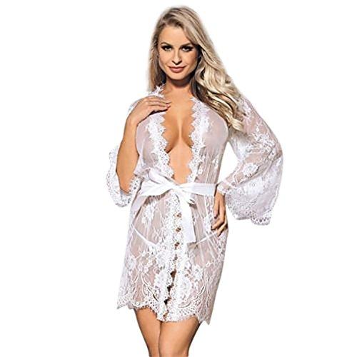 Dessous Unterwäsche Nachtwäsche Ausverkauf Dessous Babydoll Nachtwäsche,LUCKYCAT Frauen Spitze Unterwäsche Mantel Nachtwäsche + G-String Kleid Dessous Set (Weiß, Small)