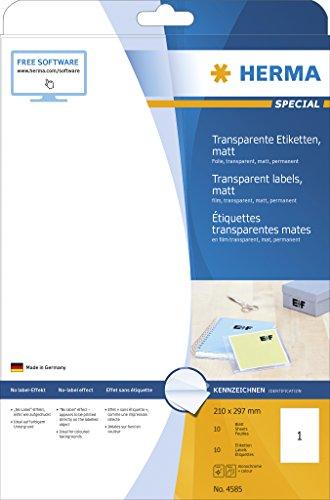 HERMA 4585 Wetterfeste Folien-Etiketten DIN A4 transparent (210 x 297 mm, 10 Blatt, Polyesterfolie, matt) selbstklebend, bedruckbar, permanent haftende Klebefolie, 10 Klebeetiketten, durchsichtig