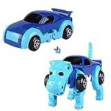 Happy Event Automatisches Fahrzeug zur Umwandlung von Hund und Dinosaurier Uhrwerk Wind Up Spielzeug für Kinder (A)